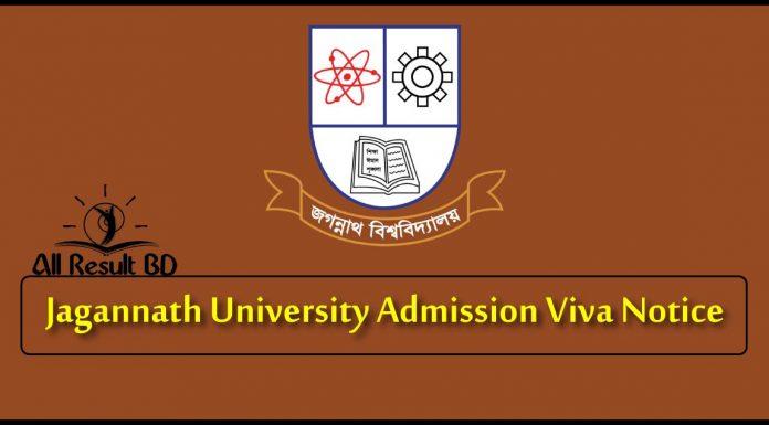 Jagannath University Admission Viva Notice