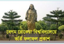 Begum Rokeya University Admission Result