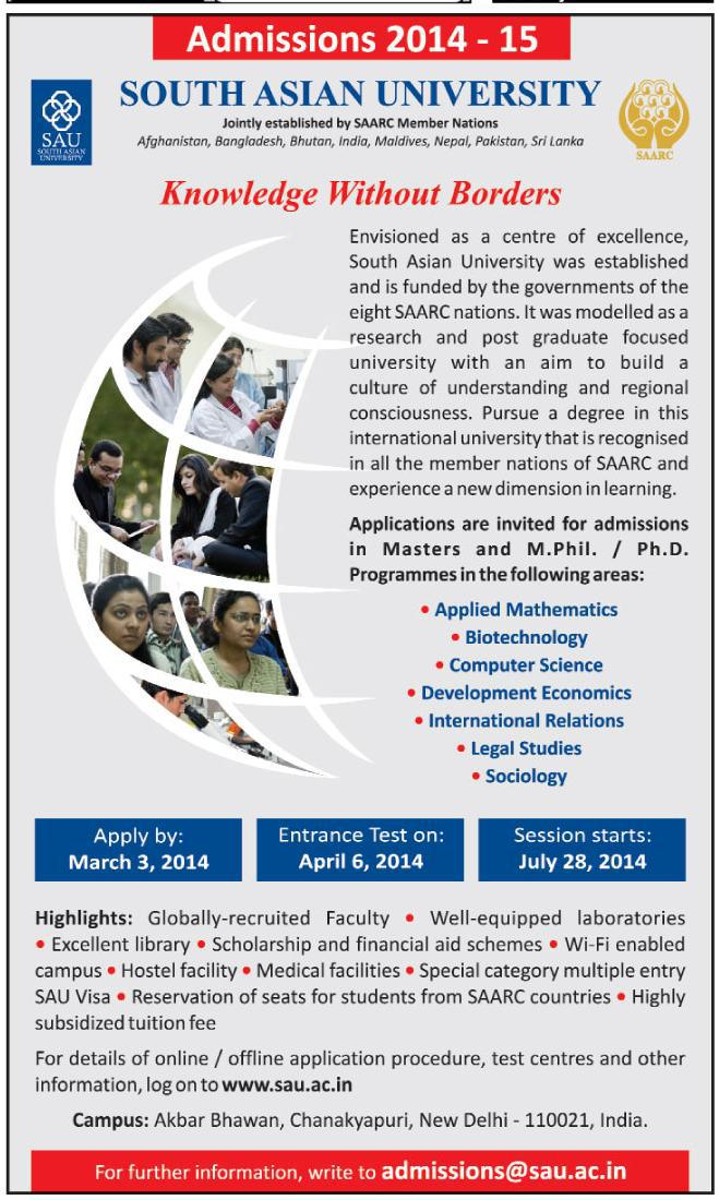 South Asian University Admission Circular 2014-15 published