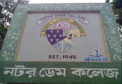 Notre Dame College HSC Admission Notice Result 2016