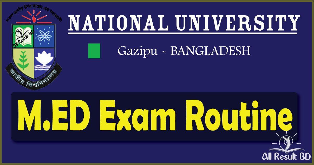 National University M.ED Exam Routine 2016 nu.edu.bd