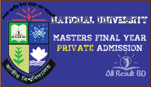 NU Masters Final Year Private Admission Circular 2015-16