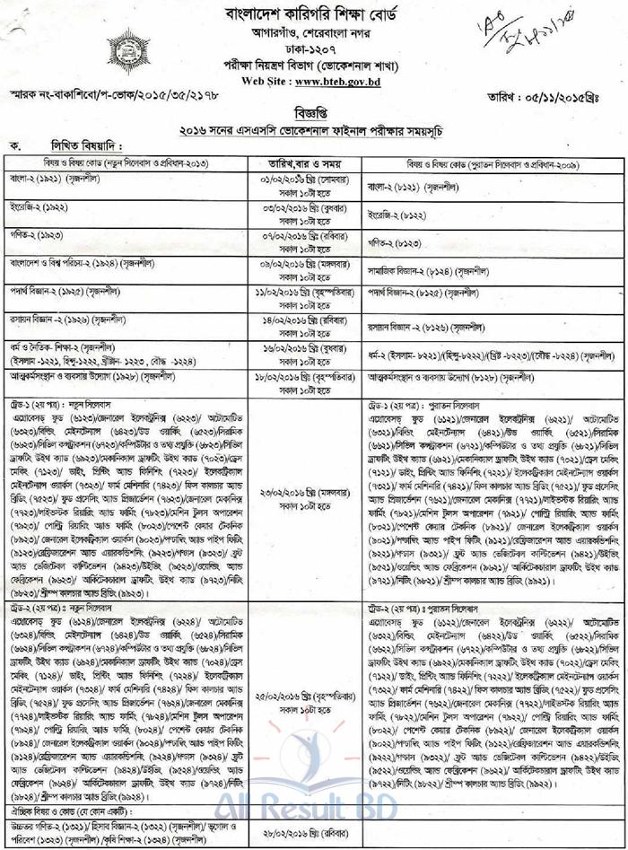 SSC Vocational Routine 16