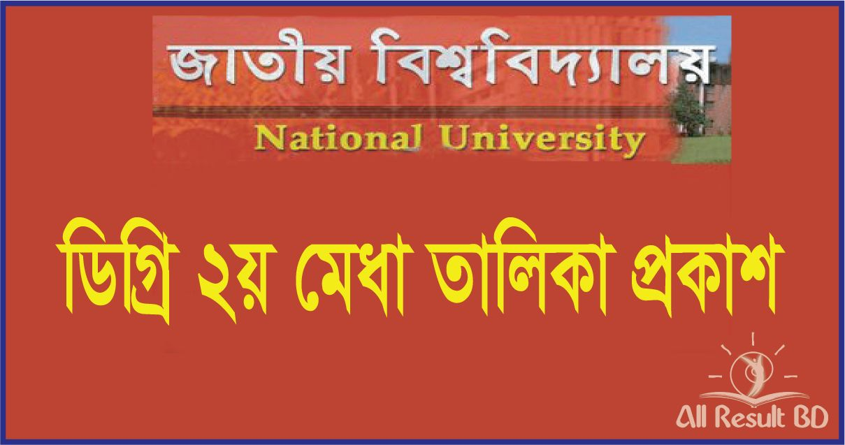 NU Degree 2nd Merit List Result 2015-16 App.nu.edu.bd