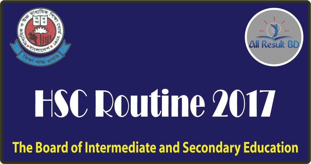 HSC Routine 2017 Dhaka Bangladesh Education Board