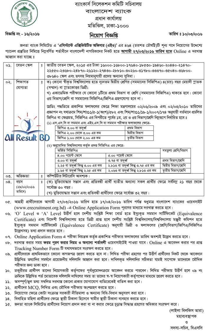 Janata Bank Assistant Executive Officer job circular