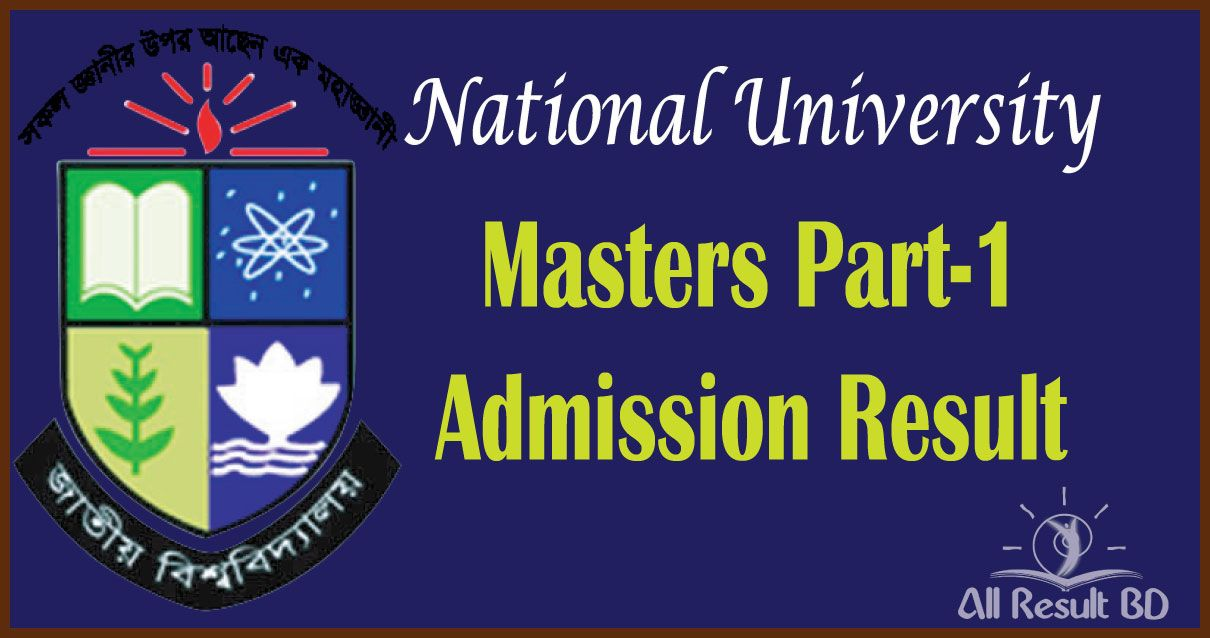 National University Masters Part-1 Admission Result 2016