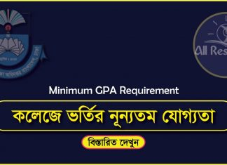 XI Admission College Wise GPA Requirement