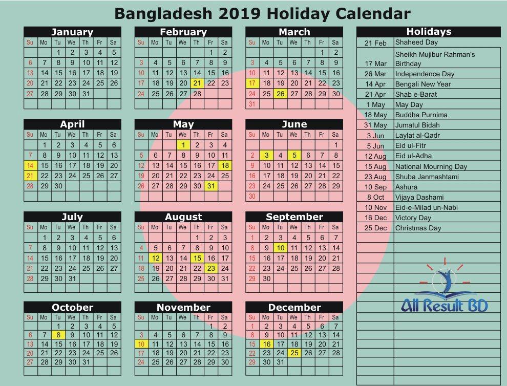 Bd Govt Holidays List 2019 Bank Holidays And Public National Holidays