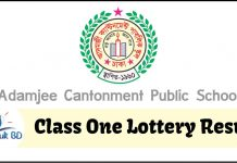 Adamjee Cantonment Public School Class One Lottery Result