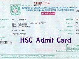 HSC Admit Card