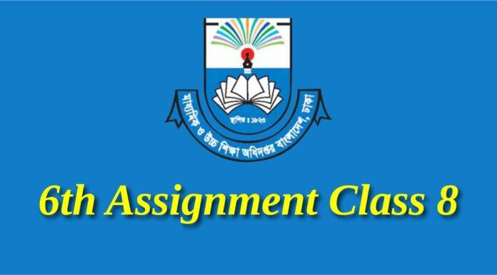 6th Assignment Class 8
