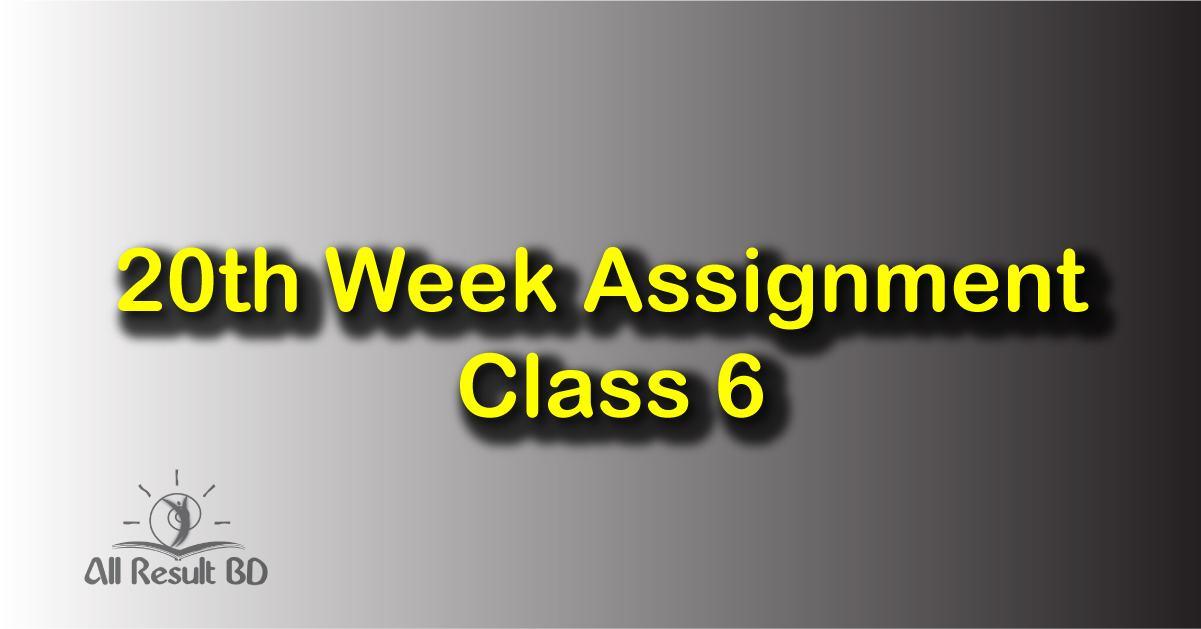 20th Week Assignment Class 6